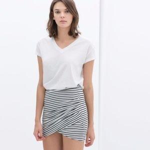 Zara Trafaluc Striped Asymmetrical Mini Skirt S